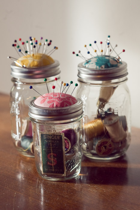 Mason Jar Pin Cushions