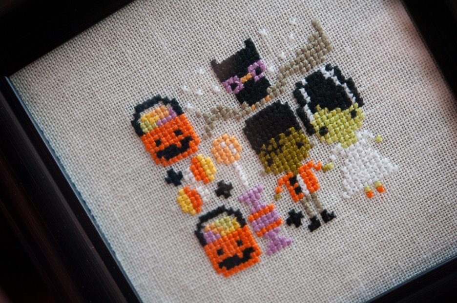 halloween cross stitch trick or treaters